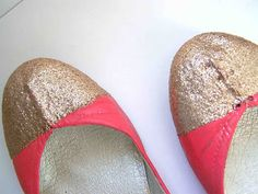 Painted Shoes with Glitter Toe Caps #modpodge #crafts #diy #shoes #glitter