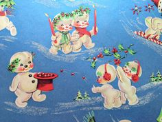 Vintage Christmas Wrapping Paper  Blue by TheGOOSEandTheHOUND
