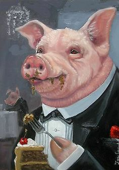 Fancy Pig with Cake ACEO print from original oil by Joy Campbell