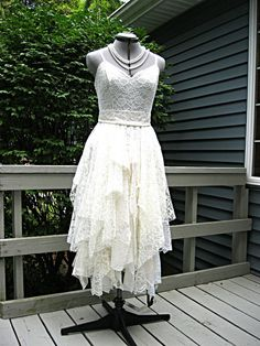 Cream Off White Ivory tattered alternative bride boho hippie wedding dress, tea length, recycled / vintage laces, size 4-6, Bohemian Queen