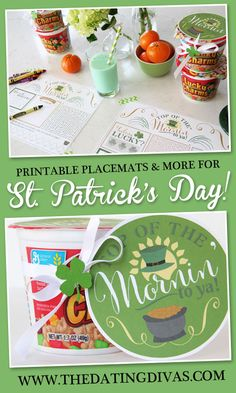 Printable Placemats for St Patrick's Day Breakfast St Patrick's Day Crafts, Cute Crafts, Holiday Crafts, Holiday Fun, St Pattys, St Patricks Day, March Holidays, Top Of The Morning, Lucky Day