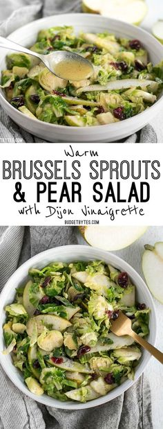 This Warm Brussels Sprouts and Pear Salad combines winter flavors in a warm and filling side dish.