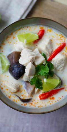 Tom Kha Gai hai – BEST and EASIEST recipe for Thai coconut chicken soup with chicken, mushroom and coconut milk. 20 mins and better than restauarant's | rasamalaysia.com