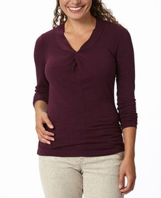 """Royal Robbins Noe Vee Long Sleeve Top - Womens Noe Vee is a """"twist"""" on the basic long sleeve. This feminine design detail will take your look to new heights. Outdoor Brands, Lifestyle Clothing, Long Sleeve Tops, Feminine, Tunic Tops, V Neck, Clothes For Women, Fall 2015, Mens Tops"""