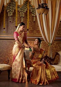 South Indian bride. Temple jewelry.Silk kanchipuram sari. Braid with fresh flowers. Tamil bride. Telugu bride. Kannada bride. Hindu bride. Malayalee bride.