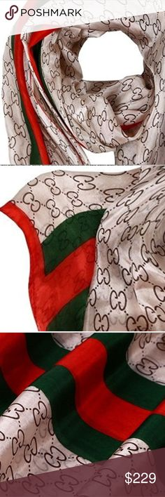 PROMO ITEM!!!  GG silk scarf 100% Silk Scarf Wrap - Geometric GG Logo Print Accessories Scarves & Wraps