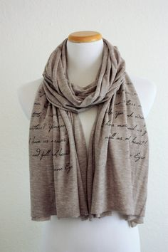 Jane Eyre Scarf - Knit Jersey Raw Edged Scarf - Charlotte Bronte Quote on Etsy, $28.00