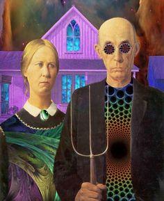 American Gothic, Grant Wood, Parody, Hippy, Hippies, San Francisco, Psychedelic, Acid, Trip