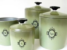 Avocado Storage Canisters Vintage 1970s by West by bythewayside