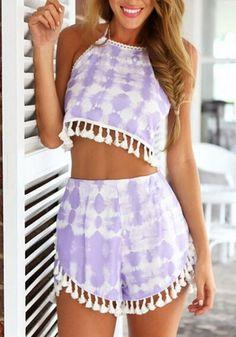Purple Floral Lace Tassel Tie Back 2-in-1 Mid-rise Zipper Chiffon Short Jumpsuit - Shorts - Bottoms