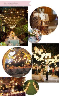 decoration : Kerzen und Lichterketten  Lichtquellen Hochzeit Location