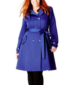 This Royal Corset-Back Trench Coat - Plus is perfect! #zulilyfinds