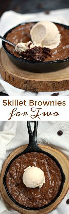 Grab two spoons and dive into this chewy and delicious Skillet Brownies for Two topped with a scoop of vanilla ice cream for the perfect ending to a perfect meal Köstliche Desserts, Delicious Desserts, Dessert Recipes, Yummy Food, Easter Desserts, Dessert Food, Chocolate Desserts, Cupcake Recipes, Healthy Desserts
