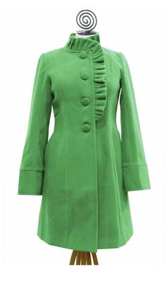 LOVE the color and the gathers. Wonder how it looks unbuttoned? Love the length and the sleeves and buttons. Maybe it would even be worth it to not have a hood for this coat. But it costs too much and it is out of stock.
