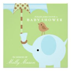 Square Blue Elephant Baby Shower Invitation