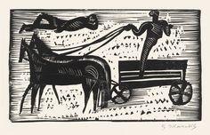 Gerhard Marcks -  Mythisches Gespann, Holzschnitt, 1922