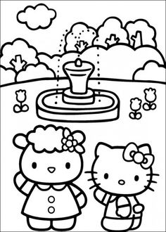 Coloring Pages of Hello Kitty And Fifi In Garden