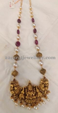 Ruby Beads Set with Adorbale Lakshmi Gold Earrings Designs, Gold Jewellery Design, Bead Jewellery, Temple Jewellery, Necklace Designs, Beaded Jewelry, Silver Jewelry, Handmade Jewellery, Jewellery Exhibition