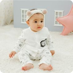 Newborn infant baby cotton top & bottom set   button by Damaju
