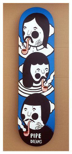 ' Pipe Dreams ' Hand Painted Skate Deck by Philip Morgan