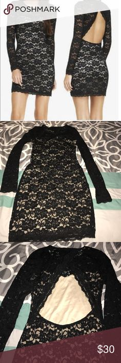 Express lace dress Pre owned, great condition. Lace open back dress Express Dresses Midi
