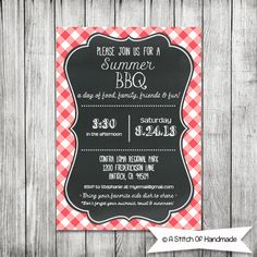 Printable BBQ Invitation - Dinner BBQ Invitation - Summer Invitation