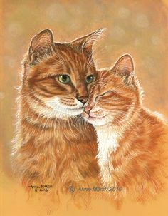 Ginger cat and kitten that special bond print of watercolour painting anne marsh