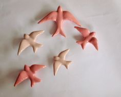 Pink Swallows. Set of 4 5 or 6 Ceramic Swallows by FeiradeBarcelos