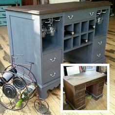 brilliant - old desk = island or wine bar