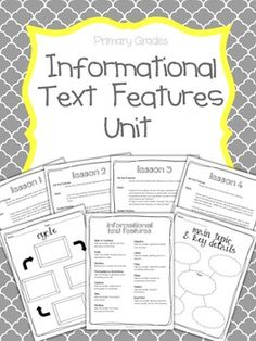 Informational Text Features Unit for Primary Grades
