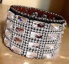 Western Cuff Bling Clear Leather Crystal Bracelet Rhinestone Cowgirl