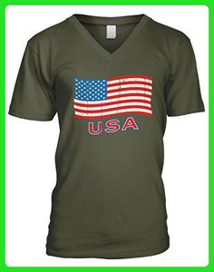 Amdesco Men's USA Flag, Faded Flag of The United States V-Neck T-Shirt, Moss Green Medium - Cities countries flags shirts (*Amazon Partner-Link)