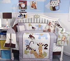 Soho 123 Giraffe Baby Crib Nursery Bedding Set With Diaper Bag Plus Free