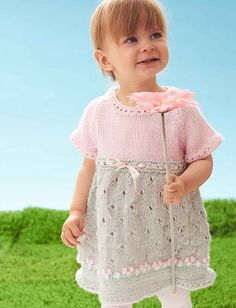 Free knitting pattern for Cozy Posie Dress - Adorable baby / toddler dress from… Knitting For Kids, Baby Knitting Patterns, Lace Knitting, Baby Patterns, Knitting Projects, Dress Patterns, Knitting Supplies, Knit Baby Dress, Knitted Baby Clothes