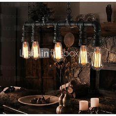 Nordic Loft Retro Pendant Lights Edison Vintage Industrial Lighting Water Pipe Lamp For Dining Room Bar Hanging Light Fixtures Hanging Ceiling Lights, Hanging Light Fixtures, Pendant Light Fixtures, Room Lights, Light Pendant, Ceiling Lamp, Pendant Lamp, Loft Estilo Industrial, Vintage Industrial Lighting