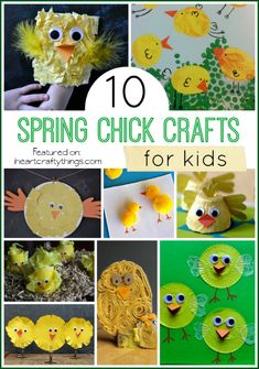 10 Spring Chick Crafts for Kids featured on iheartcraftythings.com