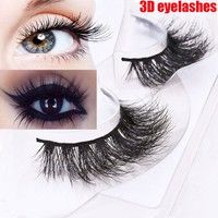 Wish | New Style Black 3D Mink Fur Natural False Beauty Eyelashes Extensions for Women Long 100% Real Mink Fur Handmade Crossing Lashes Eyelash Makeup Tools Womens Cosmetic Accessories Birthday Valentines Day Gift 1 Pair Package (Color: Black)