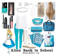 """Alice back to school"" by disneyfashionlove ❤ liked on Polyvore featuring Charlotte Russe, Adina Reyter, LeSportsac, Joe's Jeans, New Look, Blowfish, JanSport, Kate Spade, Casetify and 1928"