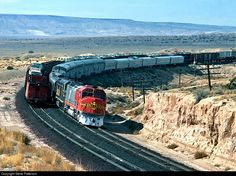ATSF #5947 (EMD FP45) roars EB with combined Train #18 at Dalies, NM. 10-31-1970. By Steve Patterson.