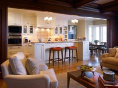 Shared Kitchen and Living Space: layout idea - with woodbeam ceiling