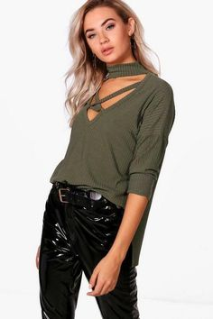 6cd2837bef8 Boohoo Rib Choker Front Strap Top Khaki Size UK 6 rrp 15 DH181 JJ 16   fashion  clothing  shoes  accessories  womensclothing  tops (ebay link)