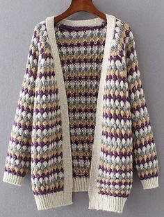 Multicolored Popcorn Knit Cardigan