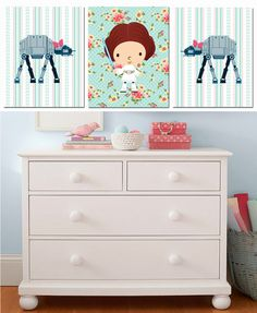 Star Wars Girl Shabby Chic Set -  Personalized Jedi- Girl Nursery Decor Star Wars Nursery- Jedi Wall Art - Girl Wall Art- Personalized