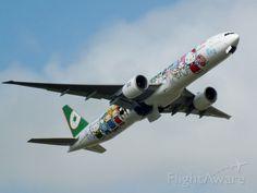 Photo of EVA Boeing 777-300ER (B-16703) with Hello, Kitty colors ✈ FlightAware