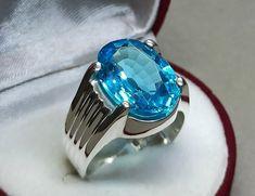 Mens Gemstone Rings, Sterling Silver Mens Rings, Topaz Gemstone, 925 Silver, Men's Jewelry Rings, Silver Ring Designs, Blue Topaz Ring, Blue Rings, Antique Rings