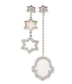 18K White Gold ptd Sterling Silver Star & Hamsa wCZ Created Opal Drop Earrings