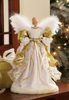 Gilded Decorative Angel Christmas Tree Topper Preorder free s/h