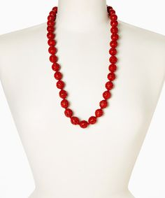 Take a look at the Red Cinnabar Lacquer Beaded Necklace on #zulily today!