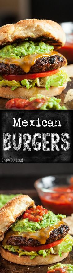 Let's go South of the Border for these juicy, tender, mouthwatering cheeseburgers. All the flavors are mixed into the meat, so every bite is scrumptious. Gourmet Burgers, Burger Recipes, Mexican Food Recipes, Beef Recipes, Grilling Recipes, Cooking Recipes, Chicken Recipes, Dinner Recipes, Burger And Fries
