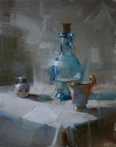 """Daily Paintworks - """"Shower in Cool Light"""" - Original Fine Art for Sale - © Qiang Huang"""